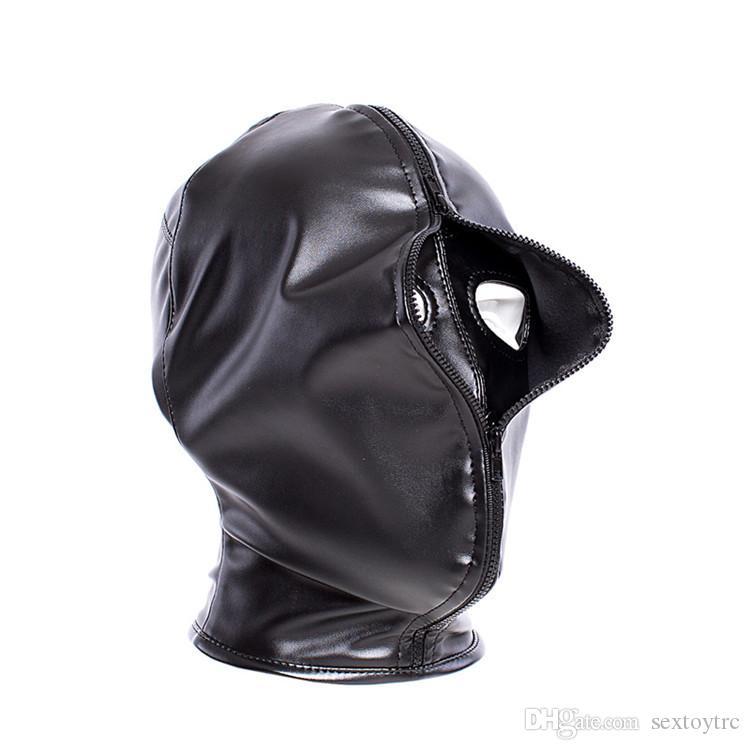 Reißverschluss Gesichtsabdeckung Bondage Hood Mündungsrückhaltschichten Kopf Design Bondage Gear Leder Fetisch Spielzeug Harness Sex Voll Dual Maske Neu mit TLFQ