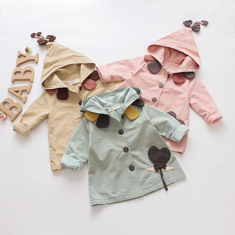 куртка пальто верхняя одежда девочка младенец малыша дети с капюшоном повседневная 100% хлопок весна осень 9 12 24 месяца 3 т розовый зеленый бежевый