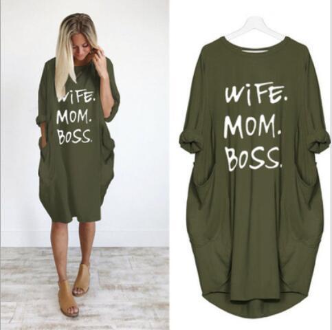 Neueste Sommer-Frauen-Buchstabe gedrucktes Kleider Mode Rundhalsausschnitt Panelled Damen Kleider beiläufige lose lange Hülsen-Kleid