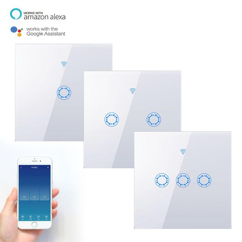 Smart Touch Mudar No Line Neutral remoto de voz Temporizador Controle Waterproof de interruptor de luz funciona com Alexa / Página inicial do Google Tuya APP T200605