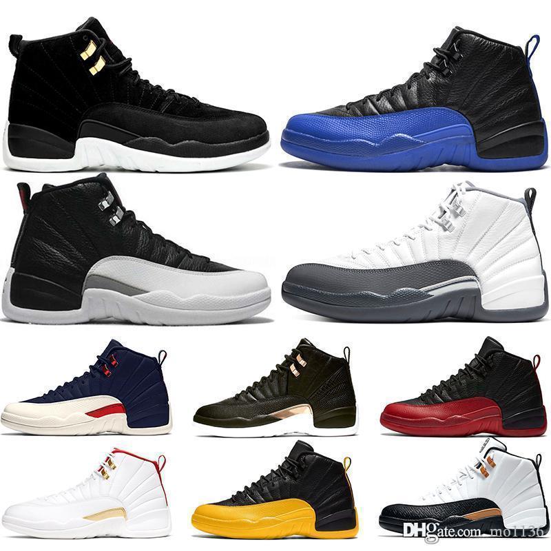 Sapatos inversa Taxi Preto FIBA Men Baskaetball 12 12s escuro cinzento do jogo Real Flu Jogo Designer Mens Sneakers Sports Tamanho 40-47