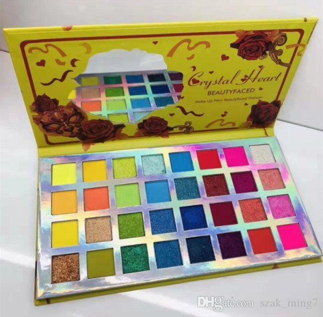 Hot Sale Crystal Heart / Fake Confess BEAUTY FACED FASHION 32 colors eyeshadow palette crystal diamond eye shadow makes your eyes dreamy