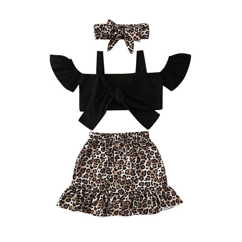 Ins Summer leopard baby girls suits fashion girls outfits tank tops+skirts+headband 3pcs/set 1-5Y kids designer clothes girls clothing B1399