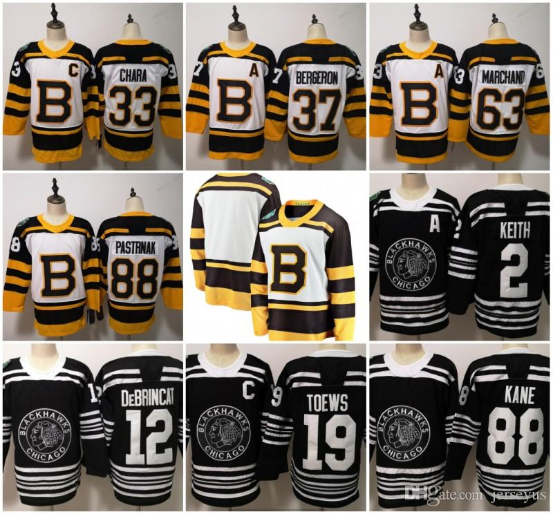2019-2020 Kış Klasik Chicago Blackhawks Boston Bruins Toews DeBrincat Patrick Kane Seabrook Crawford Pastrnak Bergeron Marchand forması