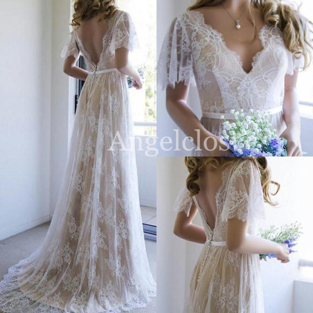 Boho Lace Beach Wedding Dresses 2019 V Neck Short Sleeves Backless Sweep Train Appliques Modern Country Bridal Gowns Vestido De Novia Custom