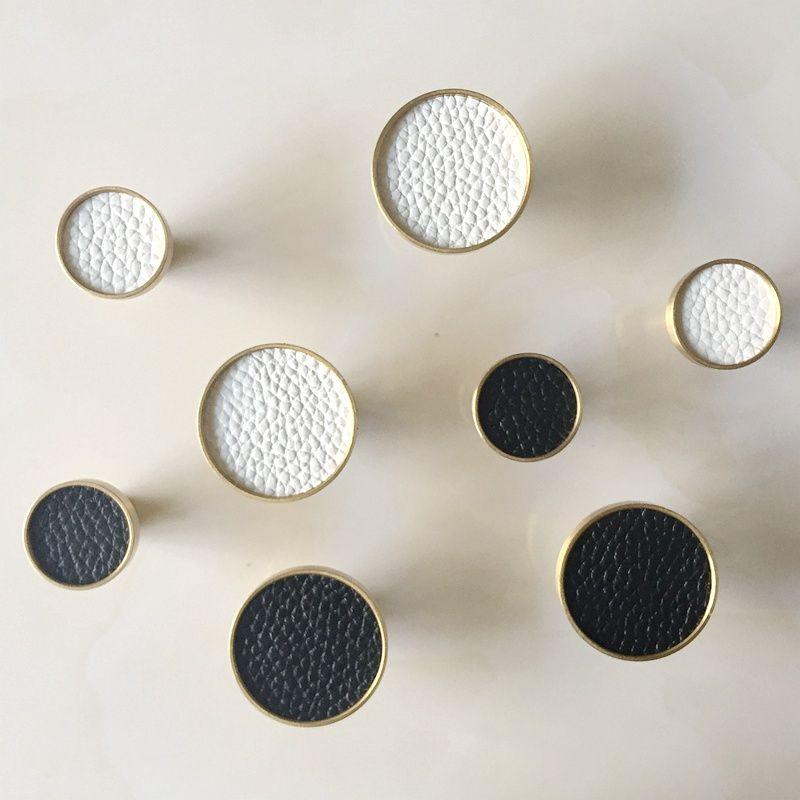 Ronda de latón macizo del gabinete perillas Tire de piel decorativo Cocina Dresser cajón de la manija Muebles Armario Armario tirones del precio al por mayor