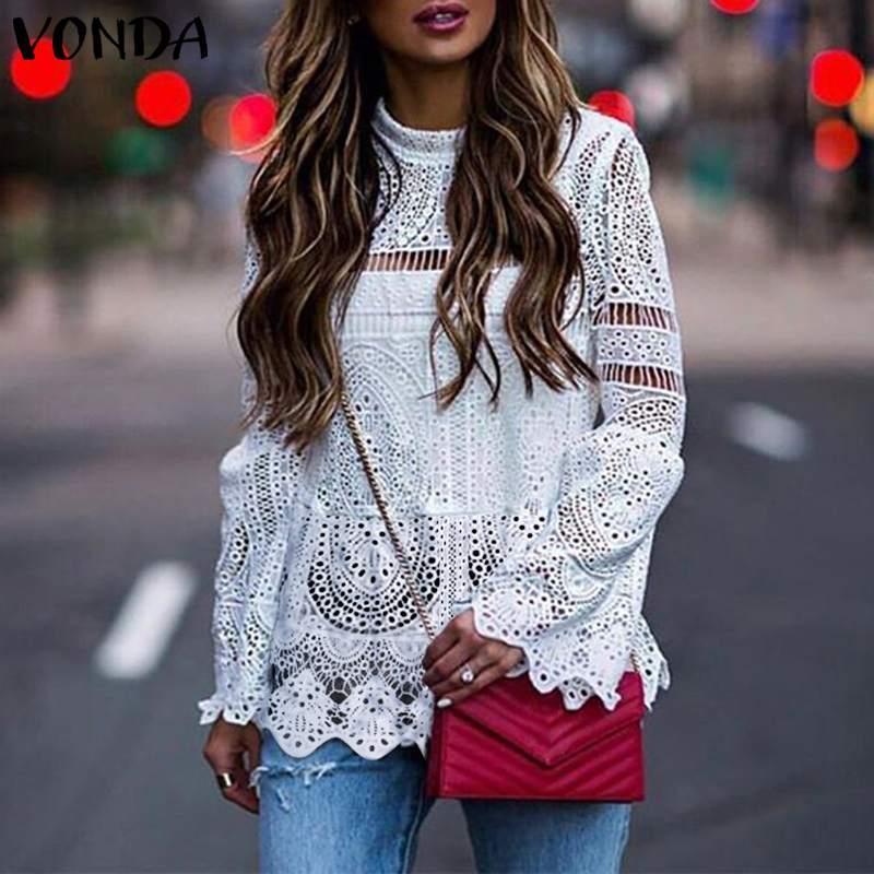 Kadınlar Seksi Hollow Bluz Bayan Casual Uzun Kollu Düzensiz Hem Patry blusas Plaj Bayan Gömlek Plus Size Tops