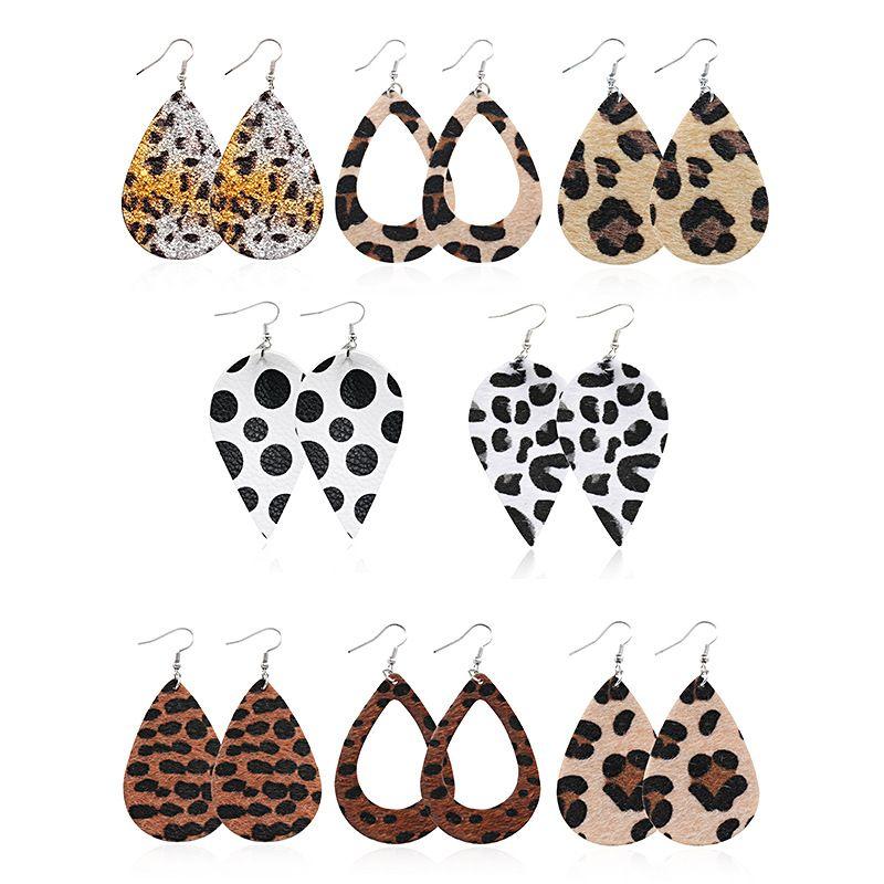 Orecchini in pelle CPOP Trendy Faux per dell'orecchio dei monili di goccia dell'acqua Donne Foglia leopardo orecchini regalo di nuovo anno goccia di modo regalo di alimentazione Produttori