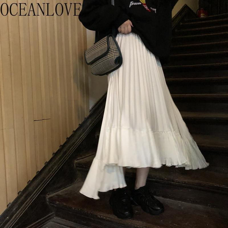 OCEANLOVE Solid Women Skits High Waist Spring Autumn Fashion Faldas 2020 Pleated Vintage Long Skirt All Match Bottoms 15340
