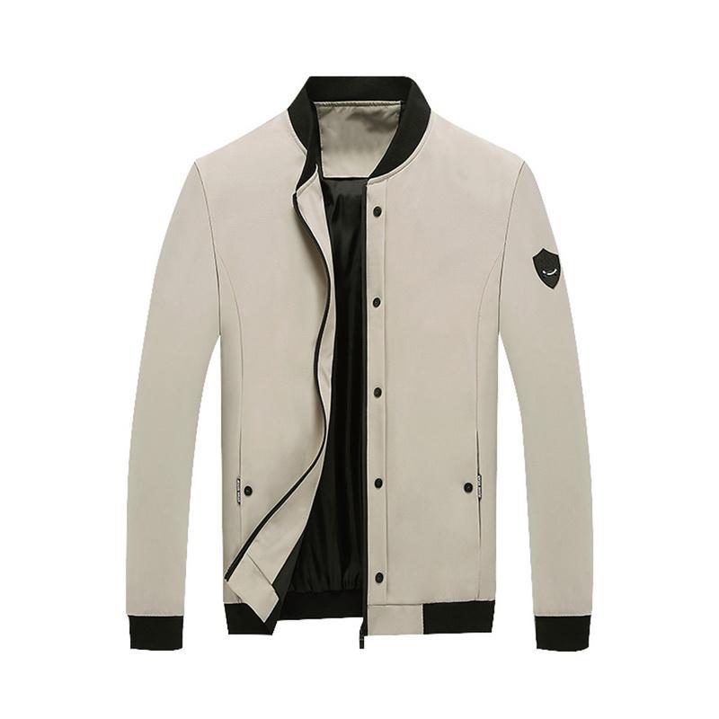 SFIT 2019 Мужские легкие куртки Осень-Зима Верхняя одежда Full Zip Button Up Бейсбольная куртка Slim Fit Пальто Осень Сплошной цвет