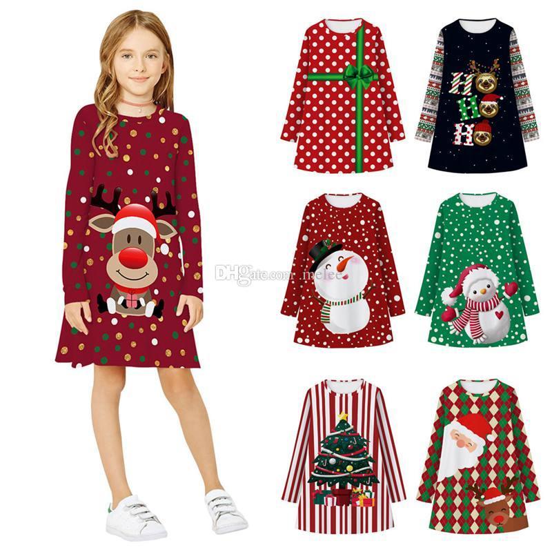 十代の子供女の子冬のドレス長袖3Dプリント漫画子供のドレスクリスマスクリスマスプリンセスドレス新年服