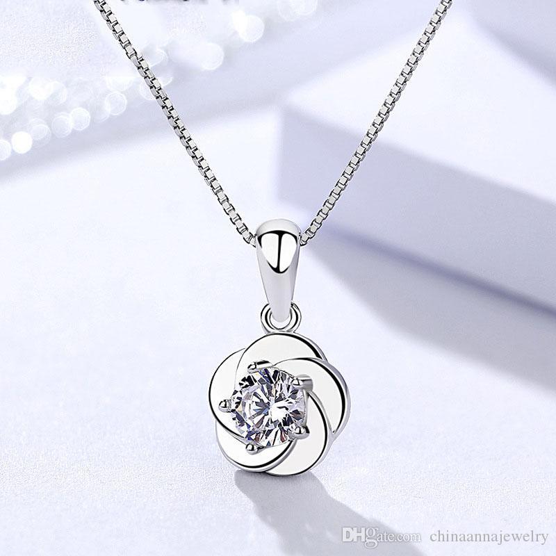 Chine bijoux de mode bas prix de gros FGJL chaud 925 argent sterling blanc brillant zircons belle anniversaire filles pendentif fleur