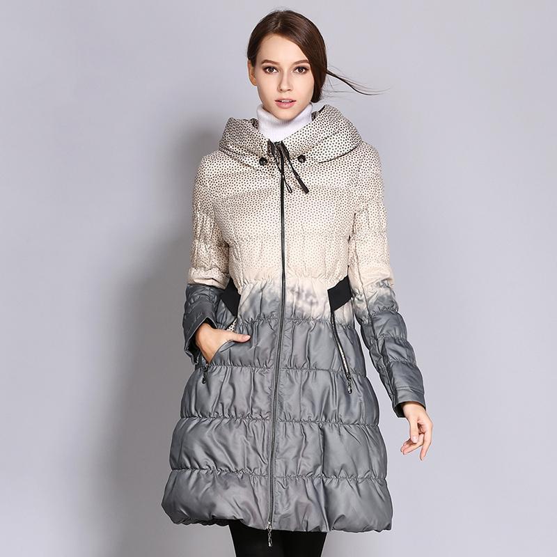 Moda inverno Casual Impressão Coats Mulheres Long Zipper Parkas Quente Brasão Feminino coreano