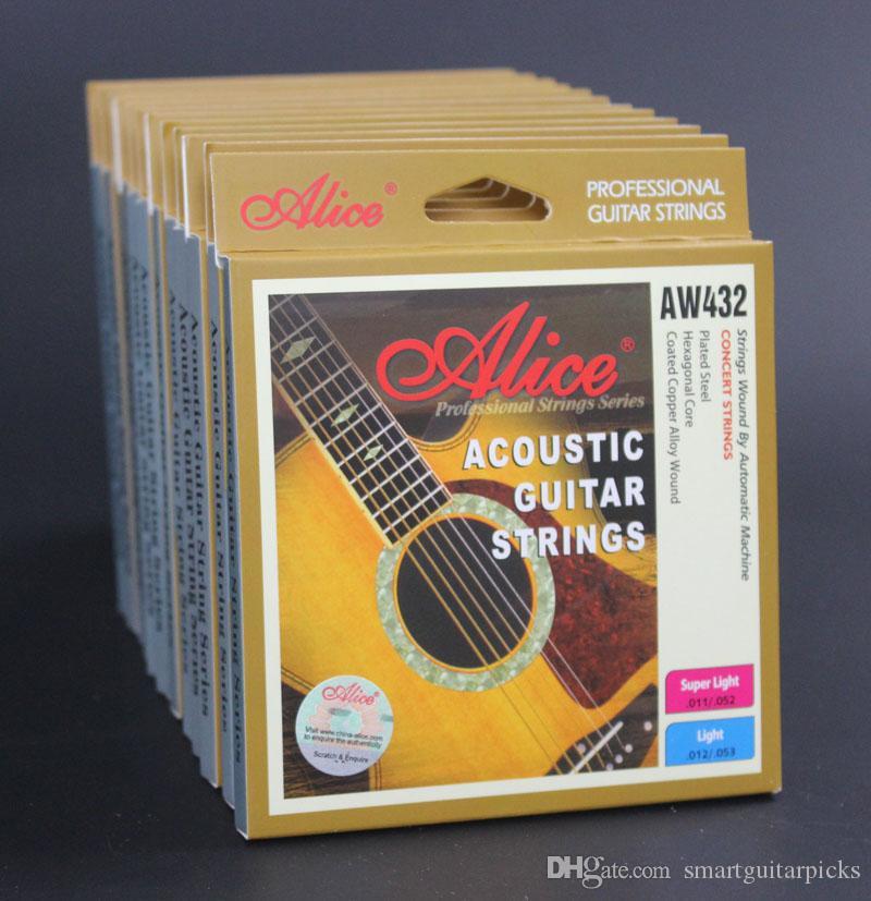 6 세트 Alice 어쿠스틱 기타 줄 육각형 코어 코팅 구리 합금 상처 AW432