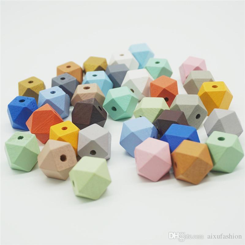 50 unids / lote 20 mm color de la mezcla de cuentas de madera natural facetada forma octagonal suelta cuentas de madera para la joyería que hace DIY collar pendiente
