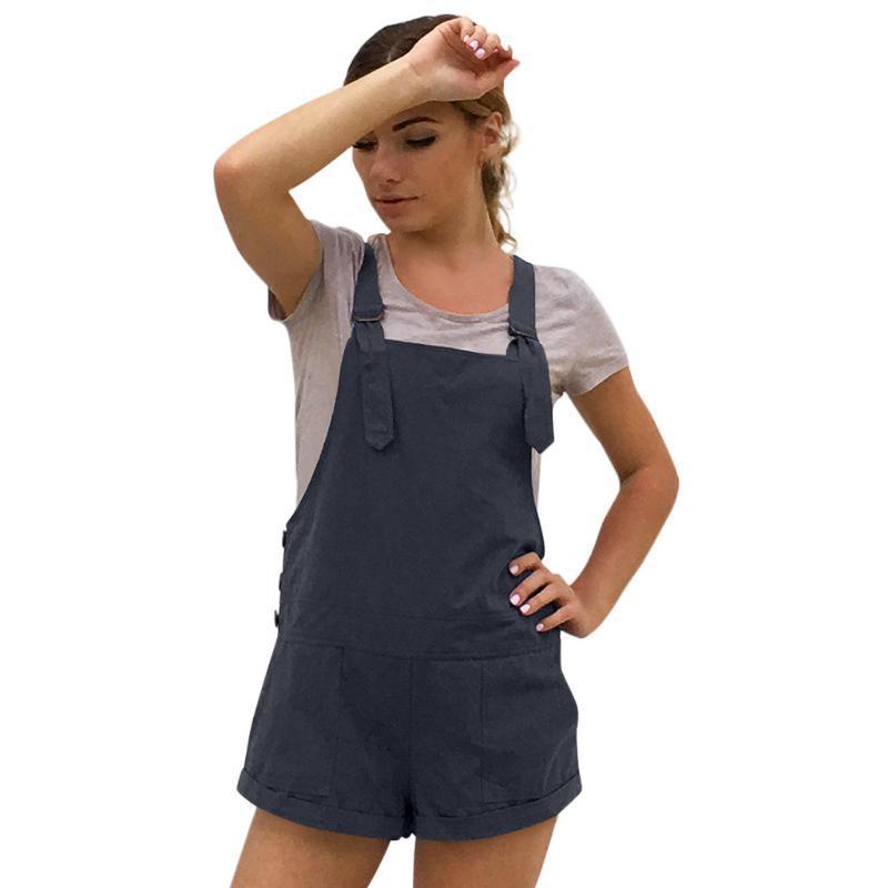 Women's Jumpsuits & Rompers 38# Womail Bodysuit Women Summer Casual Solid Adjustable Cotton Pockets Playsuit Shorts Jumpsuit 2021