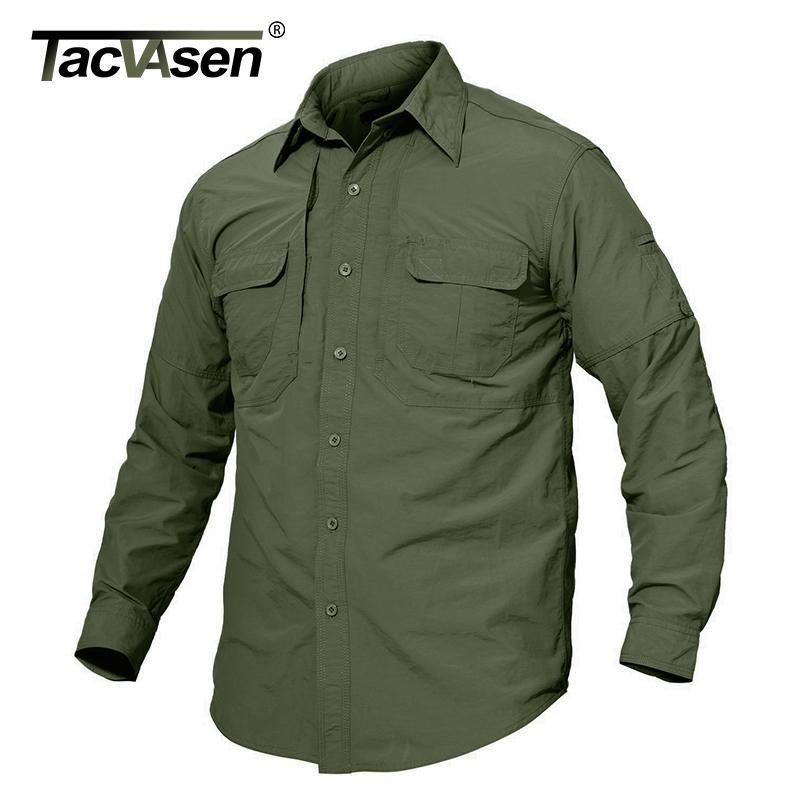 Camisa de secado rápido Ejército Militar Marca Airsoft táctico Ropa TACVASEN hombres de camisa de manga larga de los hombres de peso ligero de combate camisas LY191203