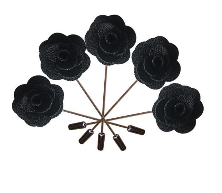 Spilla Donne Fiori 20Pcs Nero mano Giudizi Fiore all'occhiello Pins Rosa di seta artificiale Groomsman Best Men bouquet di fiori da sposa