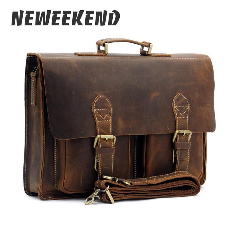 Mens Vintage Crazy house leather Briefcase Handbag Shoulder Messenger Bag