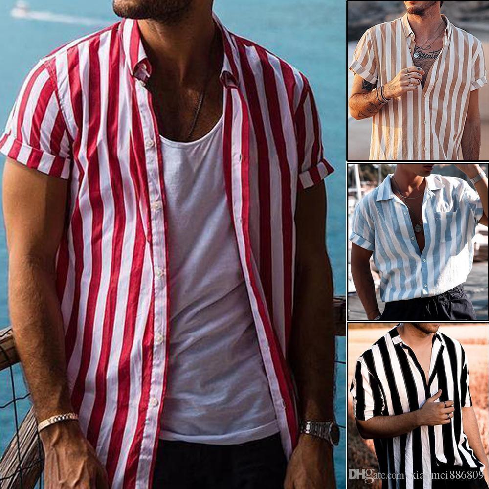 새로운 남성 여름 버튼 셔츠 헐렁한 옷 깃 블라우스 V 넥 없음 포켓 스트라이프 탑