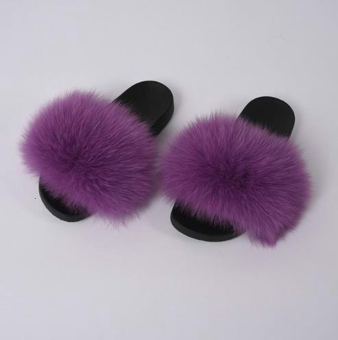 New Lady Fox Fur Slippers dames Femmes Mode fourrure Automne Sliders Printemps Eté Slides Intérieur Extérieur plat