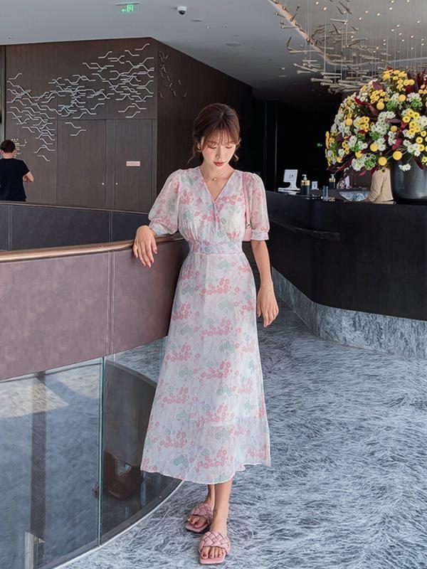 Женщины Длинные шифон Цветочные платья лета 2020 Runway Элегантный корейской Party Night платье Boho тропический пляжное платье для отдыха