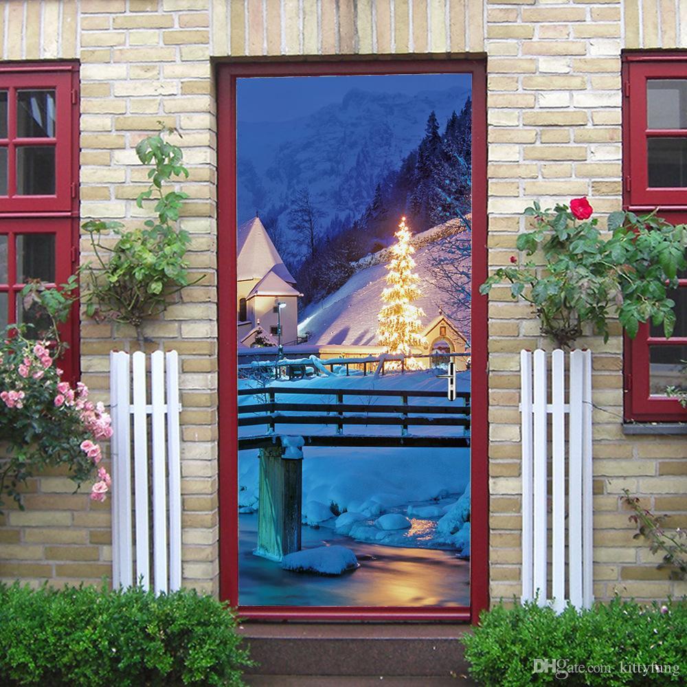 2Pcs/Set Christmas Tree Door Stickers For Living Room Bedroom Snow Moon Home Decor Decal Self Adhesive Waterproof Mural Paper