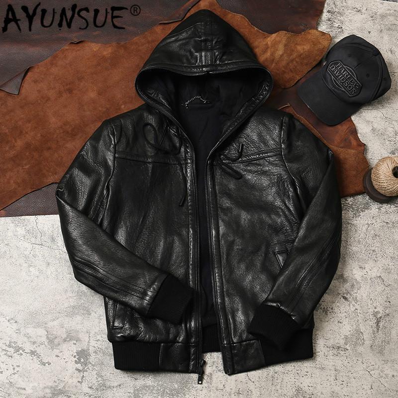 AYUNSUE Veste en cuir véritable des hommes en peau de mouton manteau à capuchon Automne Hiver Vintage Bubble Vestes en cuir pour homme 2020 PPSP KJ4971