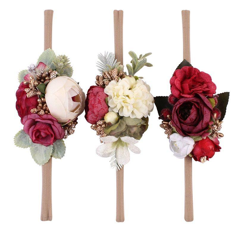 Дети Camellia Headband Baby Girls Искусственные Цветочные Головные уборы Новорожденные Оригинальные Принадлежности для волос Приморский пляж Праздник Рождественский Подарок