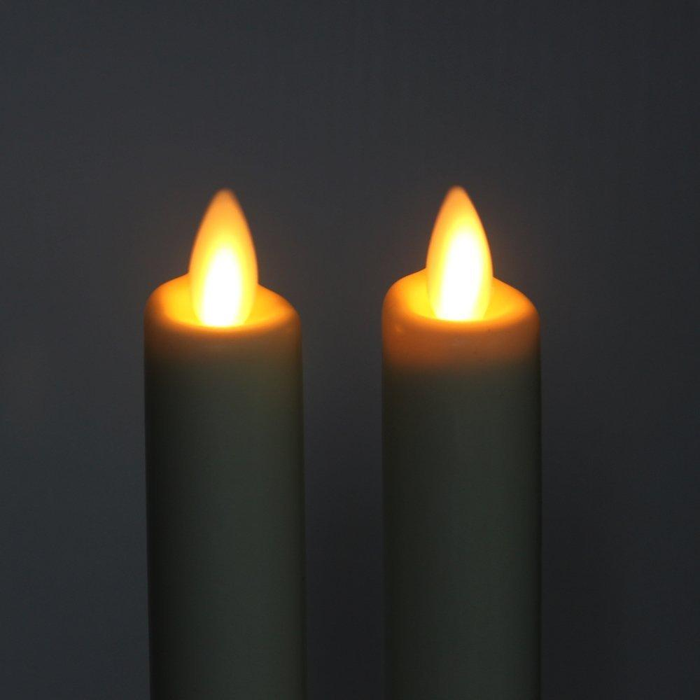"""Ksperway Set of 2 8"""" Ivory Unscented Wax Flameless LED Taper Candle with Timer and Remote T200601"""