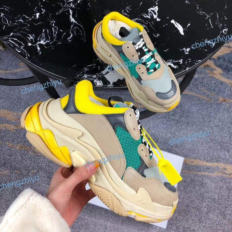 2020 Paris 17FW Mode Männer Frauen Schuhe Dad Schuhe Triple S 17FW Turnschuhe für Männer Frauen Frühling Chaussures Navy Blau Orange Vati Schuhe