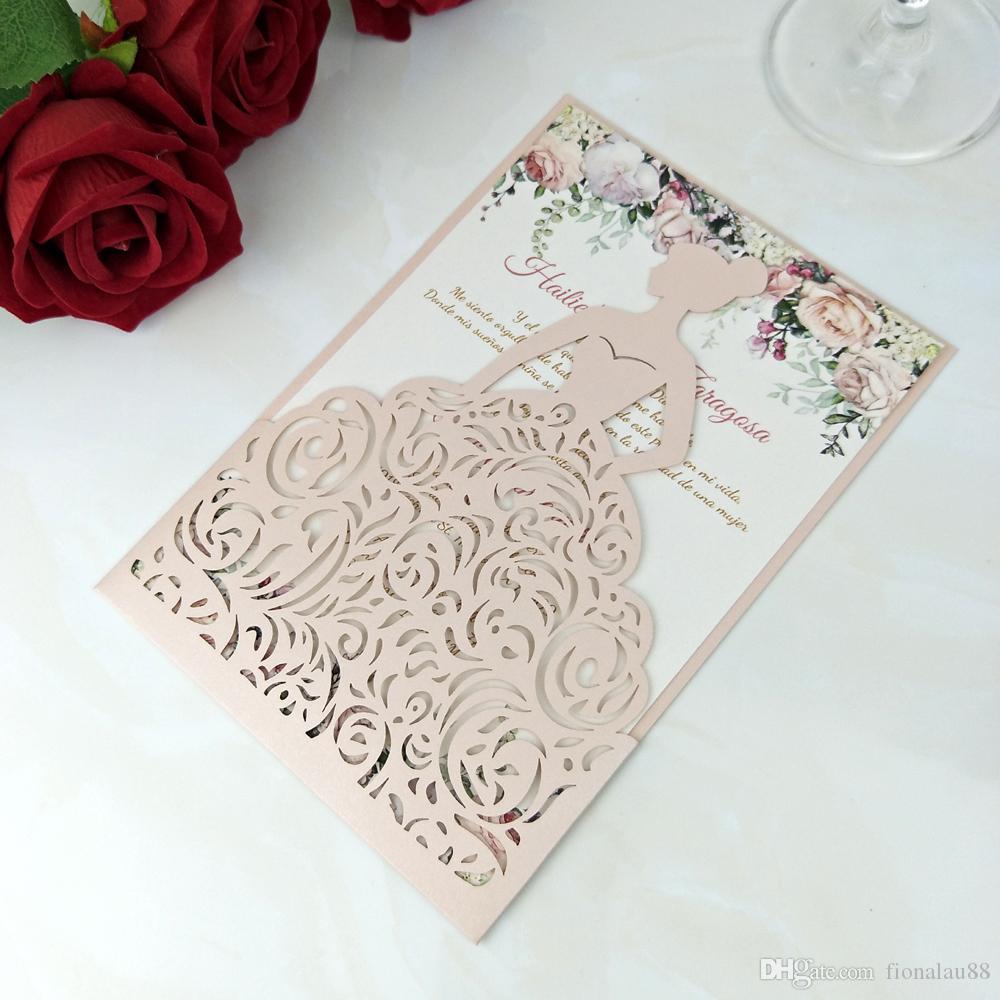 Blush Pink Flower Flower Girl Quinceañera Invitaciones con Sobre, 20 + Color Brillante Princesa Dulce Quince Fiesta de Cumpleaños Invitaciones