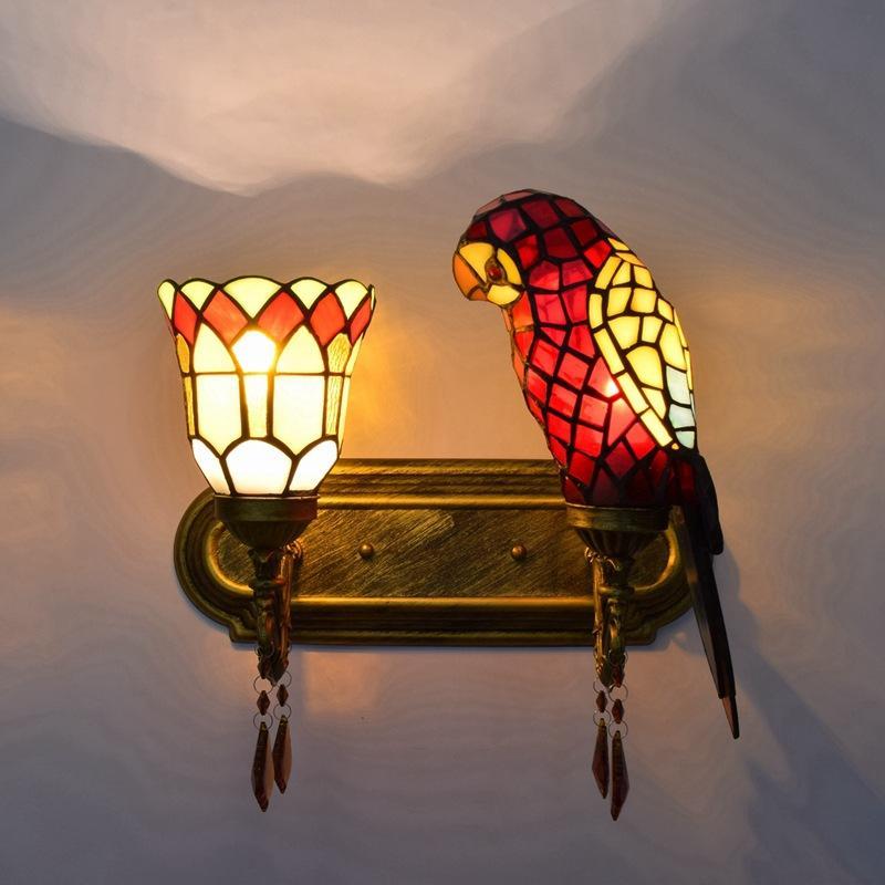 pared de vidrio de la decoración retro loro estadounidense Tiffany se enciende hotel de estilo salón dormitorio cama doble cabezal pared de cristal lampsTF090