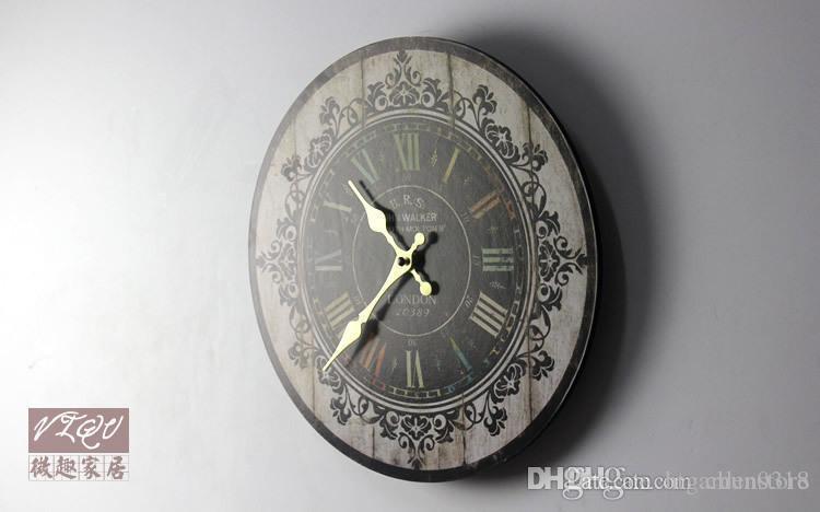 htgar sıcak Toptan-Sıcak Satış sessiz Retro ahşap dekoratif Yuvarlak duvar saati Antik Vintage rustik duvar saatleri yüksekliği kaliteli Toptan