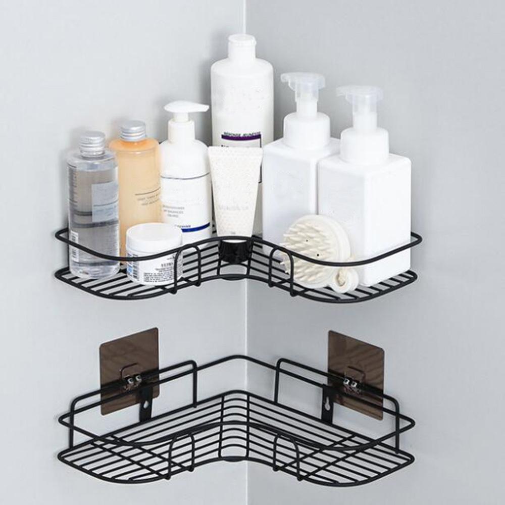 Sticky Hook Shower Holder Corner Storage Rack Shampoo Organizer Bathroom Shelf