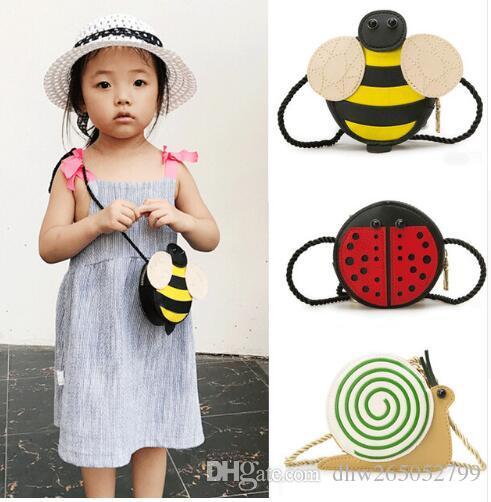Brand New Baby Girls Tassel Coin Purse handbag Children Kids Cross body shoulder bag Gifts Cartoon Animals Shape Bag Snail Ladybug Bee Style