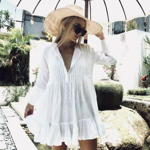 2019 Novas Mulheres Branco Manga Longa Doce Feriado Babini Bikini Cobrir Swimwear Banhando Verão Praia Solta Blusa Blusa Camisa Vestido