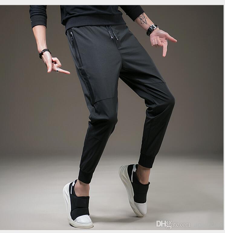 Yeni rahat pantolon erkek eğilim gençlik ince pantolon erkek ayak pantolon