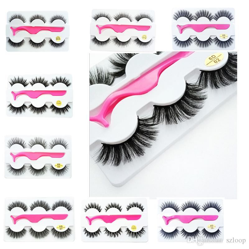 New 3Pairs/Set 3d False Eyelashes Thick Long Eyelash Eye Makeup Eyelash Extension Eye Lashes with Eyelash Clip Applicator Wholesale