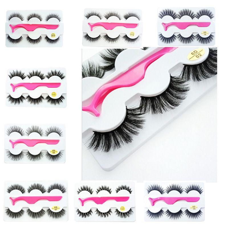 3Pairs/Set 3d False Eyelashes Thick Long Makeup Extension Eye Lashes with Eyelash Clip Applicator Wholesale