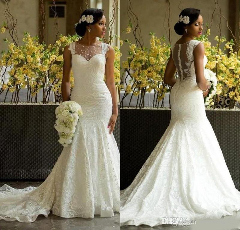 African Mermaid Wedding Dresses Illusion Neckline Country Bridal Gowns Nigerian Lace Covered Button Back Sexy Aso Ebi Lace Wedding Dress
