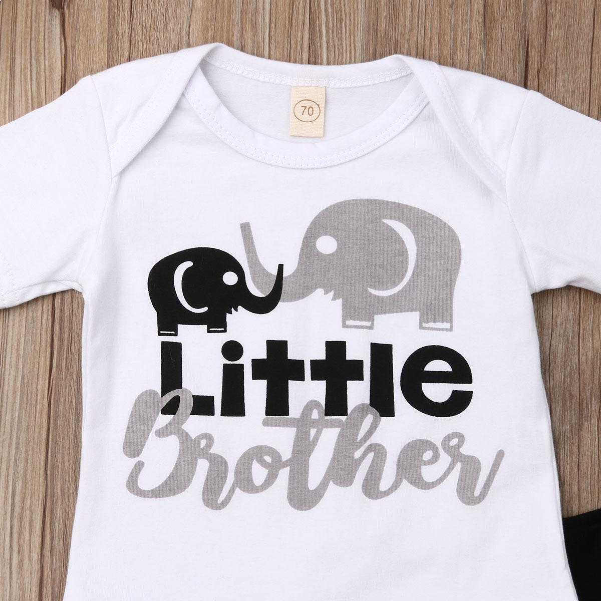 Toddler Baby Boy Clothes Little Brother Romper Elephant Shorts Summer Outfits