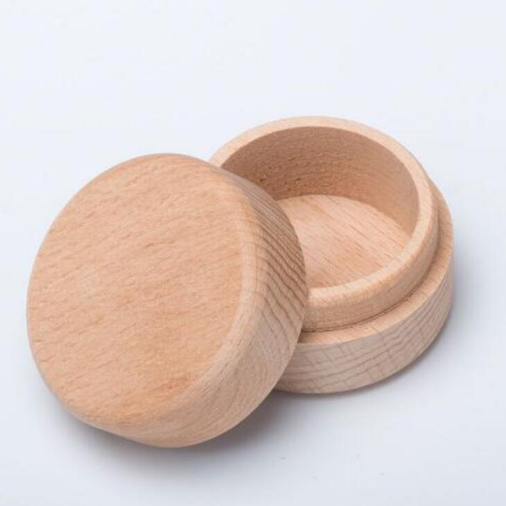La caja del anillo de madera de haya pequeñas y redondas caja de almacenamiento retro de joyería de madera natural de la boda Caso LX2017