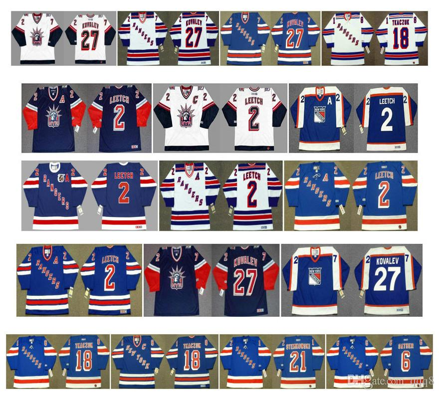 Vintage New York Rangers maglie 2 Brian Leetch 27 ALEX KOVALEV 18 Walt Tkaczuk 21 Pete Stemkowski 6 Glen Sather Blu Bianco CCM Hockey Retro
