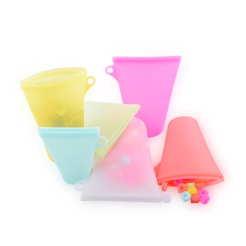 أكياس ثلاجة سيليكون لون نقي الرئيسية قابلة للطي حقيبة التخزين المطبخ الغذاء الفواكه التجميد الفريزر العالمي المتأنق TTA1644