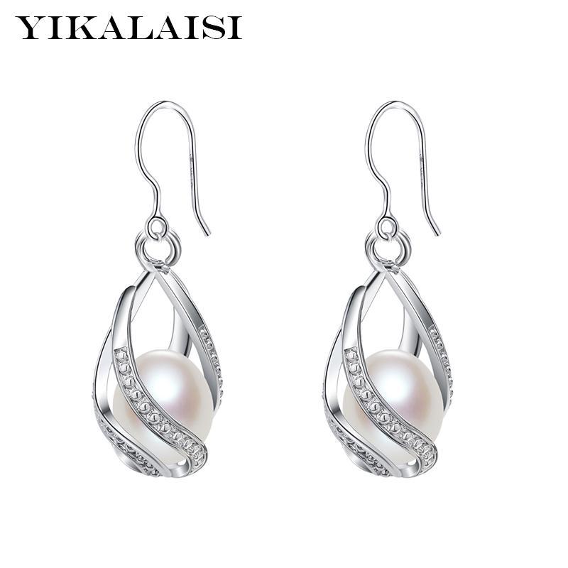 Joyería YIKALAISI 925 de agua dulce natural de la perla de la jaula pendientes de la manera para las mujeres 8-9mm perla pendientes de 4 colores