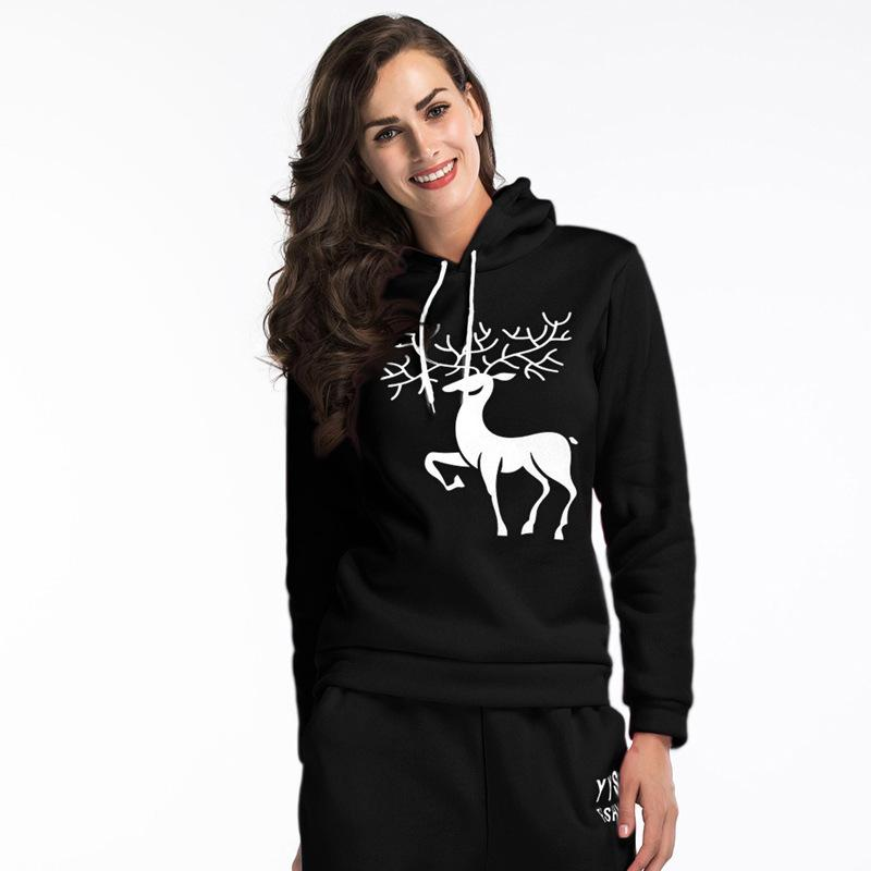 2018 Moda Inverno Bonito Natal Elk Impresso Hoodies Com Capuz Casual Cor Sólida Manga Comprida Tops Soltos Hoodies