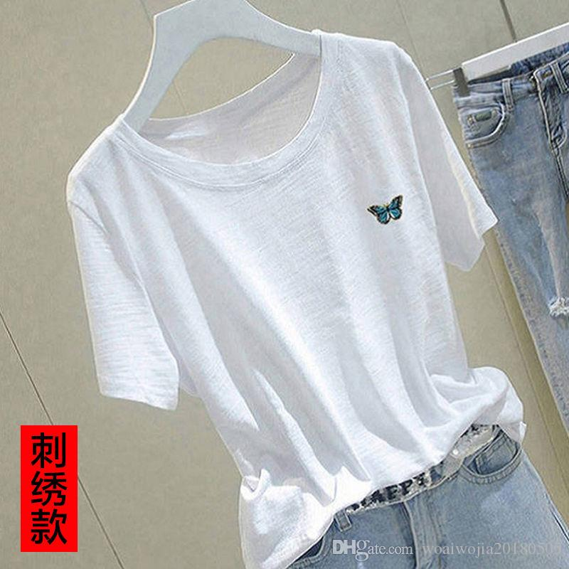20190628 azul borboleta de alta qualidade laje de algodão de manga curta solta t-shirt branca