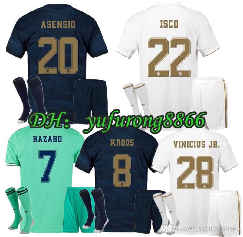 2019 2020 Soccer Jerseys Kit Hazard Jovic Militao Bale Ramos ISCO MARCELO MODRIC VINICIUS JR. Jeunes de football de Football de Madrid Real EA