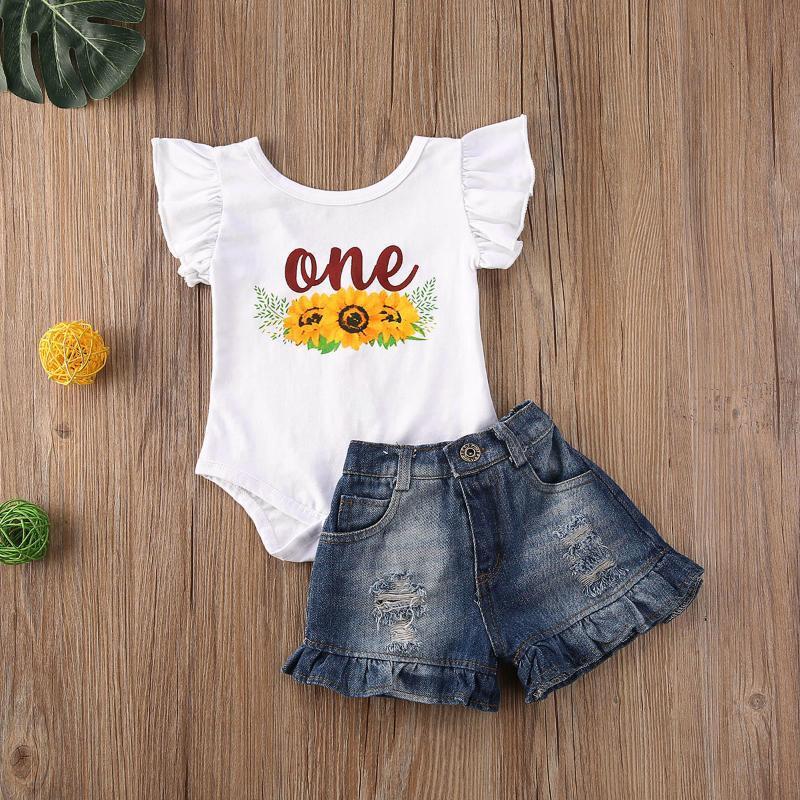 Pudcoco Nouveau-né bébé fille vêtements d'été un imprimé fleurs manches Romper Hauts Denim Pantalons courts 2Pcs Tenues Vêtements Set